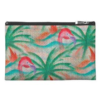 Flamingo Palm Tree Burlap Look Travel Accessory Bags