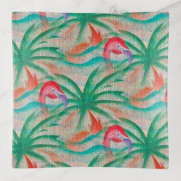 Beach Themed Flamingo Palm Tree Burlap Look Trinket Trays