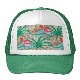 Flamingo Palm Tree Burlap Look Trucker Hat