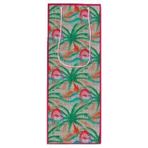 Flamingo Palm Tree Burlap Look Wine Gift Bag