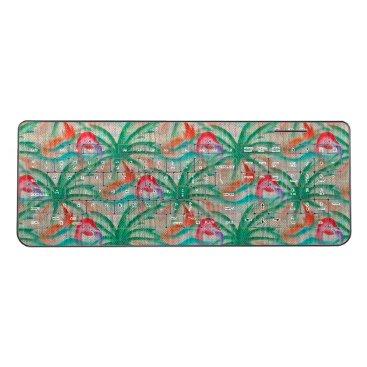 Beach Themed Flamingo Palm Tree Burlap Look Wireless Keyboard