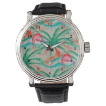Flamingo Palm Tree Burlap Look Wristwatch