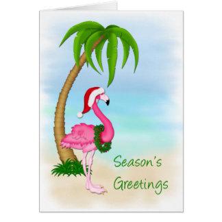 Flamingo Palm Tree Christmas Greeting Card