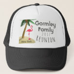 """Flamingo Palm Tree Tropical Family Reunion Hat<br><div class=""""desc"""">This Flamingo and Palm Tree Trucker Hat is the perfect hat for your flamingo themed Family Reunion party. Customize with your family name,  the year,  and the reunion location.</div>"""