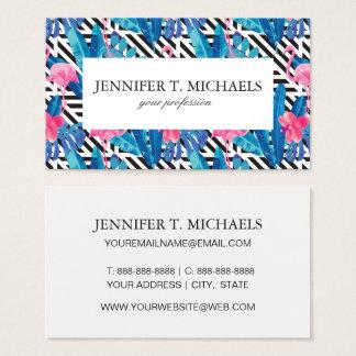 Flamingo & Palms on Geometric Pattern Business Card