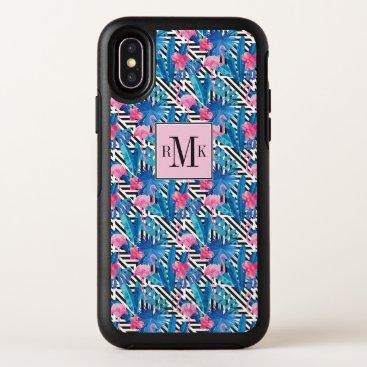 Beach Themed Flamingo & Palms on Geometric Pattern OtterBox Symmetry iPhone X Case