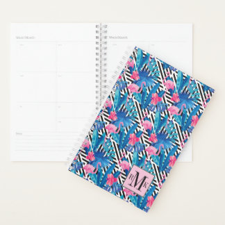 Flamingo & Palms on Geometric Pattern Planner