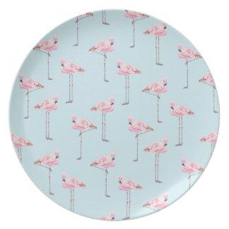 FLAMINGO PARK Blue Pink Plate