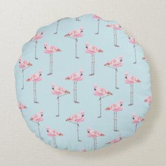 FLAMINGO PARK PINK AND BLUE FLAMINGO Cushion Round Pillow