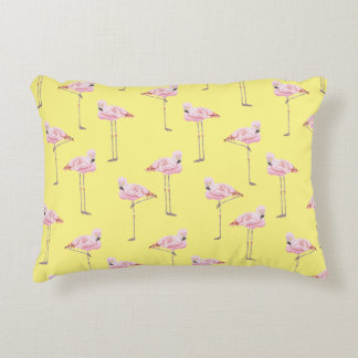 FLAMINGO PARK PINK AND YELLOW FLAMINGO Cushion Accent Pillow
