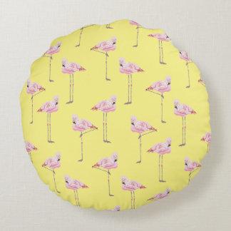 FLAMINGO PARK PINK AND YELLOW FLAMINGO Cushion Round Pillow
