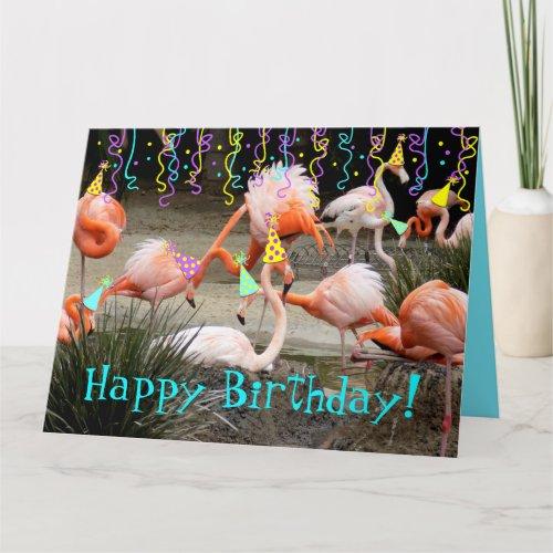 Flamingo Party Birds Happy Birthday Card