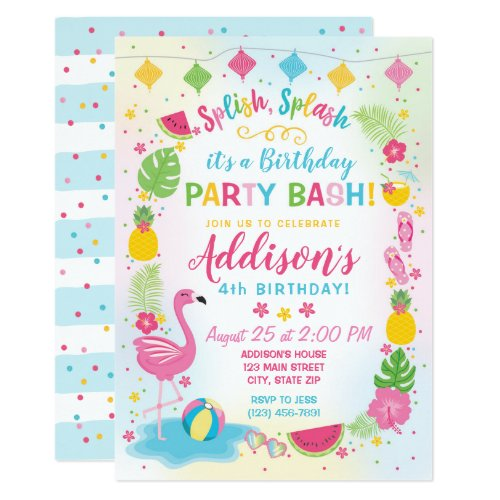 Flamingo Party Birthday Invitation