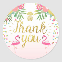 Flamingo Party Favor Tags Tropical Thank You Card