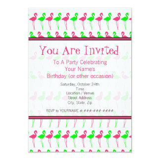 Flamingo Party Invitation - Pink and Green Pattern