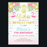 "Flamingo party invitation Tropical Birthday luau<br><div class=""desc"">♥ A perfect way to invite your guests to your little one&#39;s birthday party!</div>"