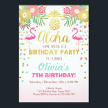 """Flamingo party invitation Tropical Birthday luau<br><div class=""""desc"""">♥ A perfect way to invite your guests to your little one&#39;s birthday party!</div>"""