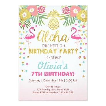 birthday Flamingo party invitation Tropical Birthday luau