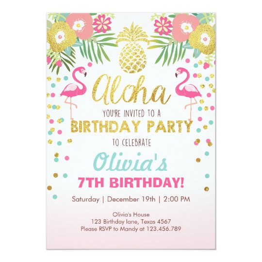 flamingo party invitation tropical birthday luau | zazzle, Birthday invitations