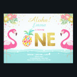 """Flamingo party invitation Tropical Pineappel Luau<br><div class=""""desc"""">♥ A perfect way to invite your guests to your little one&#39;s birthday party! Flamingo and pineapple theme.</div>"""