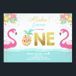 "Flamingo party invitation Tropical Pineappel Luau<br><div class=""desc"">♥ A perfect way to invite your guests to your little one&#39;s birthday party! Flamingo and pineapple theme.</div>"