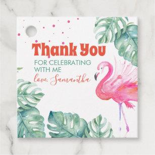 Custom Hang Tags Flamingo Birthday Favor Tags Thanks for Flamingling with Me RR-536 Custom Birthday Favor Tags
