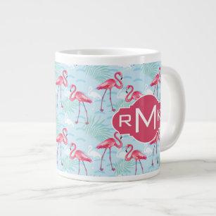 Flamingo Pattern | Monogram Large Coffee Mug