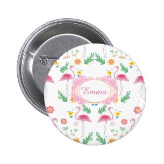 flamingo pattern pinback button
