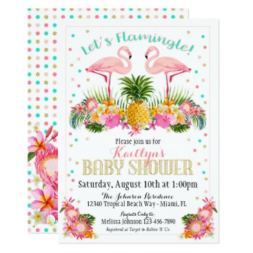 Toddler & Baby themed Flamingo Pineapple Tropical Baby Shower Card