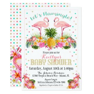 Flamingo Pineapple Tropical Baby Shower Invitation