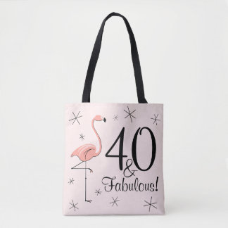 Flamingo Pink '40 and Fabulous!' all over tote bag