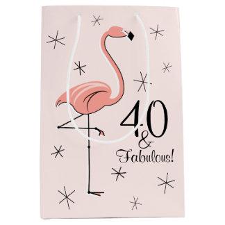 Flamingo Pink '40 and Fabulous!' gift bag medium Medium Gift Bag