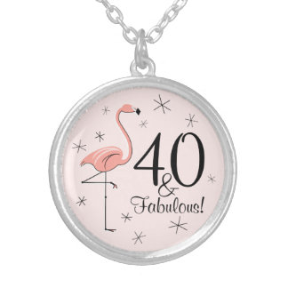 Flamingo Pink '40 and Fabulous!' round necklace