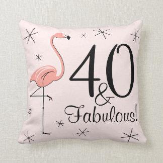 Flamingo Pink '40 and Fabulous!' throw pillow