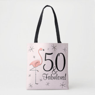 Flamingo Pink '50 and Fabulous!' all over tote bag
