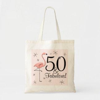 Flamingo Pink '50 and Fabulous!' tote bag