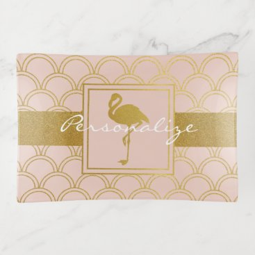 Beach Themed Flamingo Pink and Faux Gold Pattern Cute Modern Trinket Trays