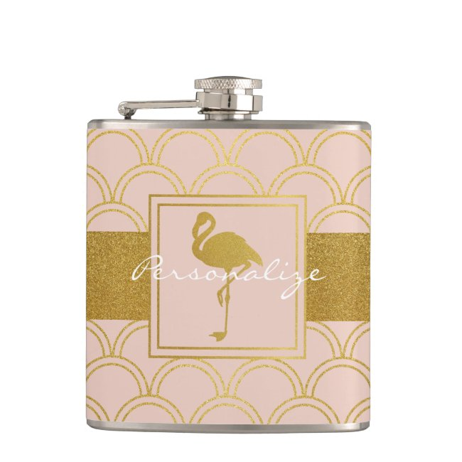 Flamingo Pink and Faux Gold Retro Pattern Modern