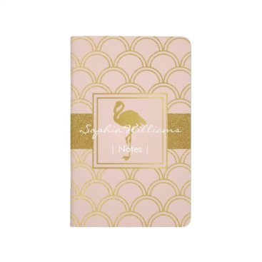 Beach Themed Flamingo Pink and Faux Gold Retro Pattern Modern Journal