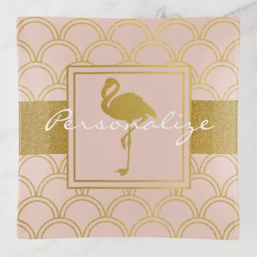 Beach Themed Flamingo Pink and Faux Gold Retro Pattern Modern Trinket Trays
