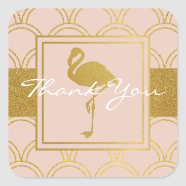 Beach Themed Flamingo Pink and Faux Gold Vintage Thank You Square Sticker