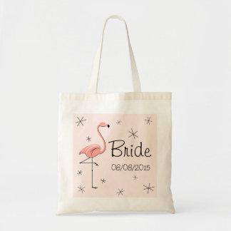 Flamingo Pink Bride tote bag