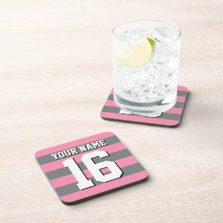 Flamingo Pink Charcoal Team Jersey Preppy Stripe Beverage Coaster