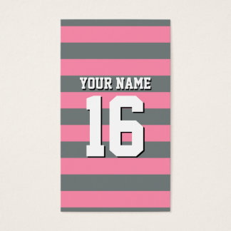 Flamingo Pink Charcoal Team Jersey Preppy Stripe Business Card