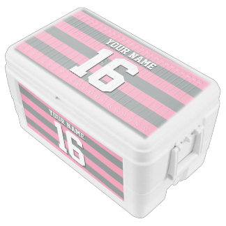 Flamingo Pink Charcoal Team Jersey Preppy Stripe Chest Cooler