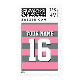 Flamingo Pink Charcoal Team Jersey Preppy Stripe Stamp