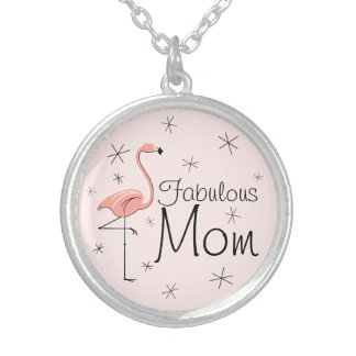 Flamingo Pink 'Fabulous Mom' round Silver Plated Necklace