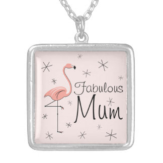 Flamingo Pink 'Fabulous Mum' square medium Silver Plated Necklace