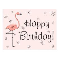 "Flamingo Pink ""Happy Birthday!"" postcard"