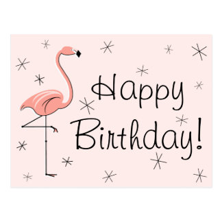 "Flamingo Pink ""Happy Birthday!"" postcard"